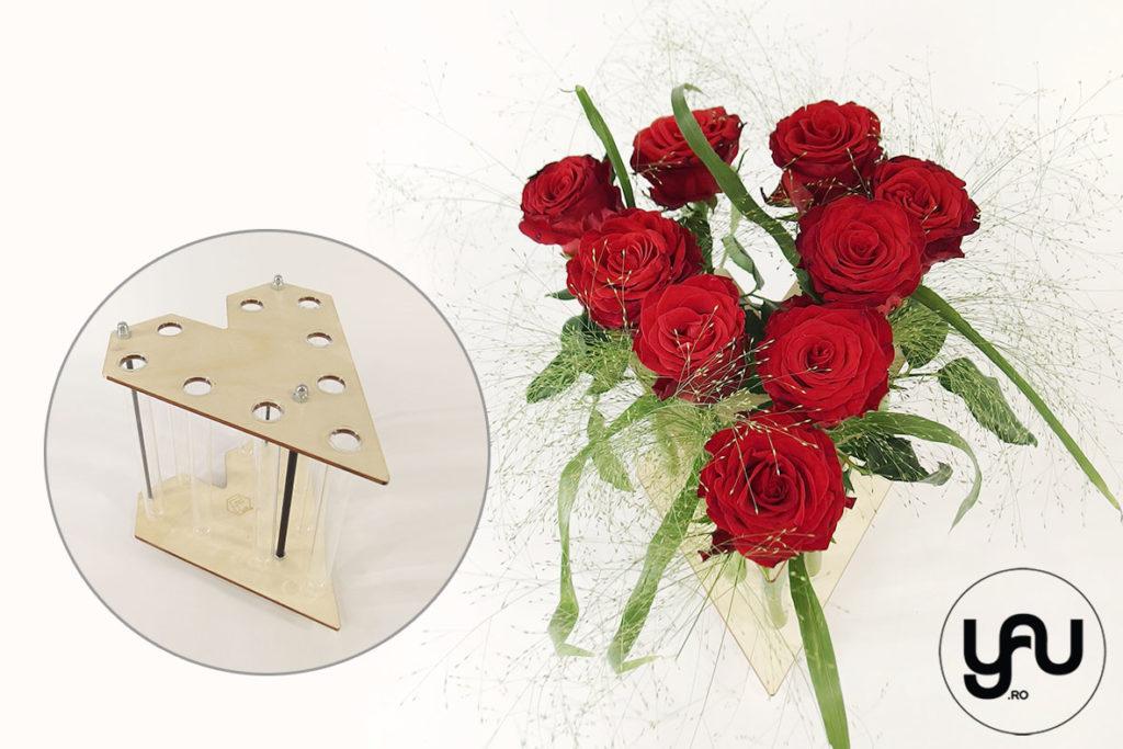 Aranjamente INIMA cu trandafiri si zambile in structuri altF.ro Elena Toader yau.ro
