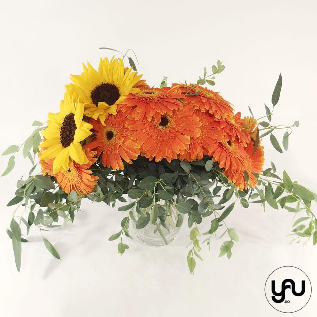 Buchet de toamna cu floarea soarelui si gerbera