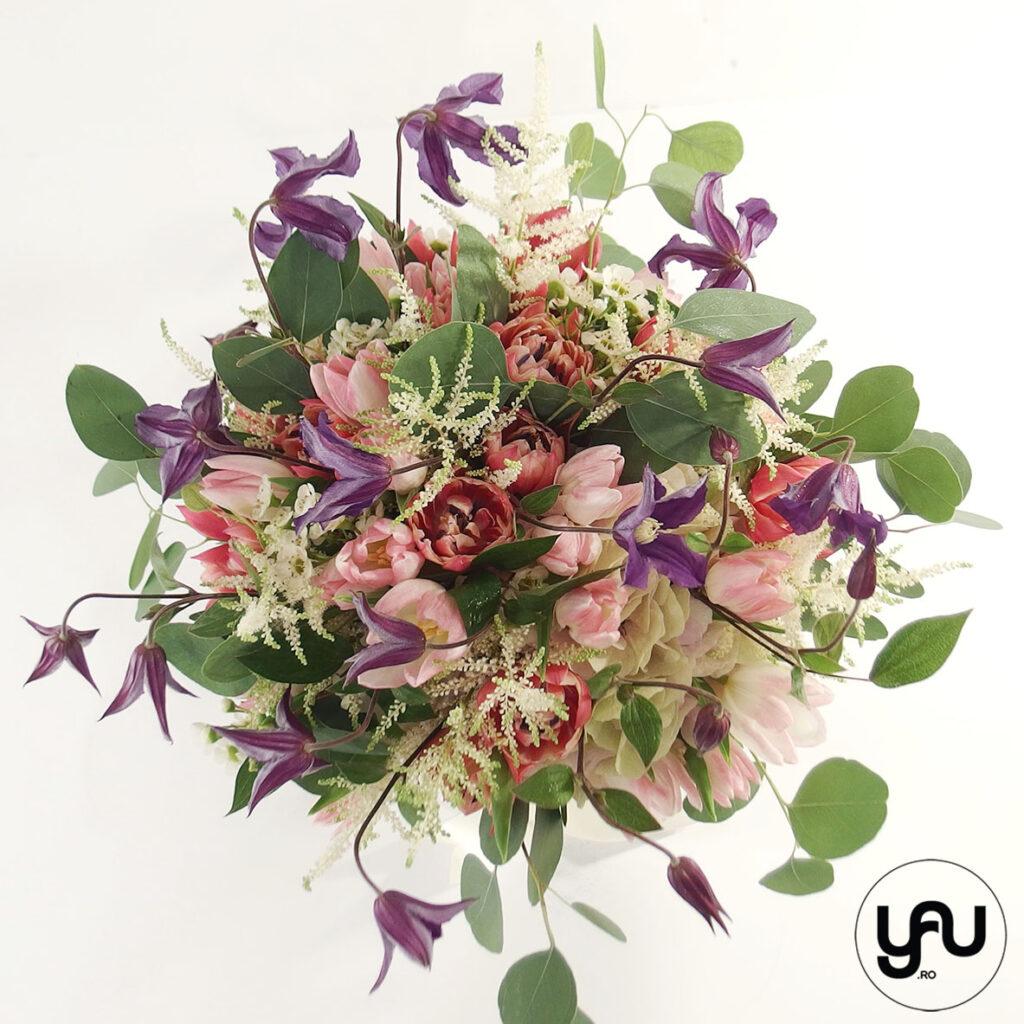 Buchet de vara cu flori MOV si ROZ