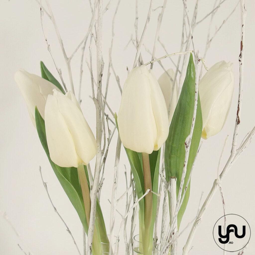 Aranjament lalele albe