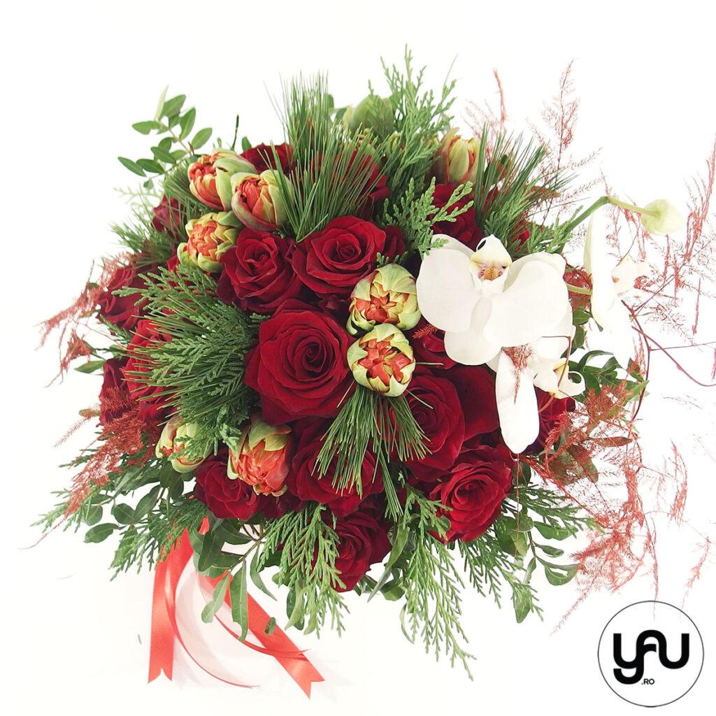 Buchet ROSU cu trandafiri lalele si orhidee