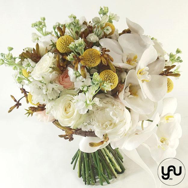Buchet mireasa cu flori albe