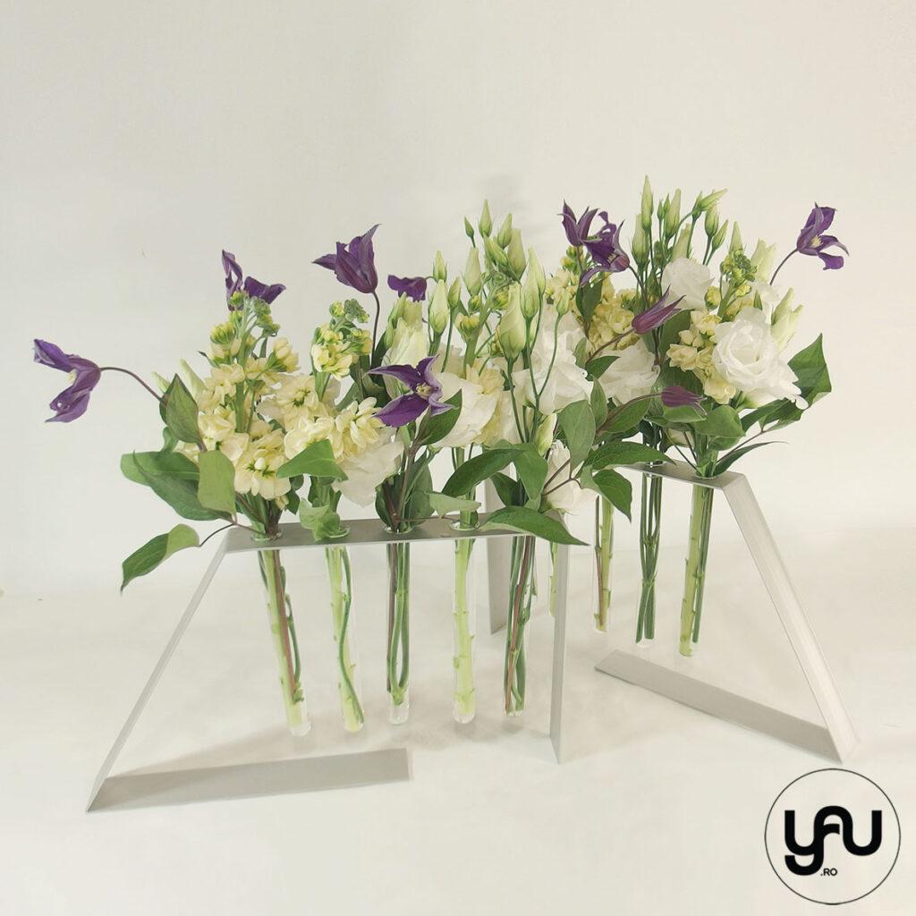 Aranjamente florale MINIMALISTE cu matthiola si clematis