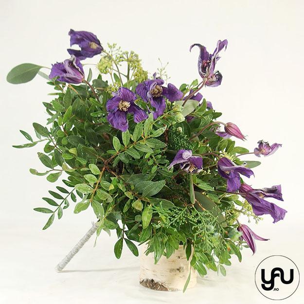 Buchet mireasa VERDE cu flori de clematis